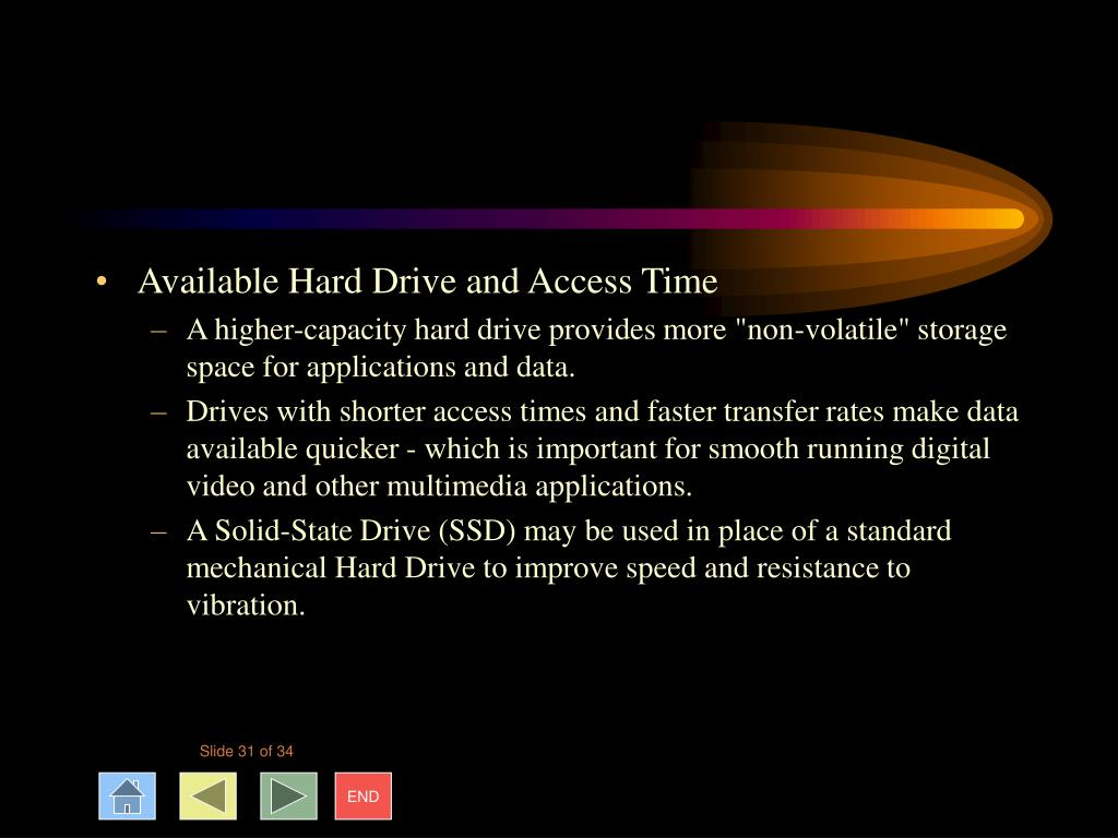 Available Hard Drive and Access Time