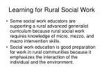 learning for rural social work