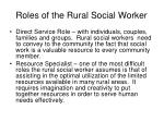 roles of the rural social worker