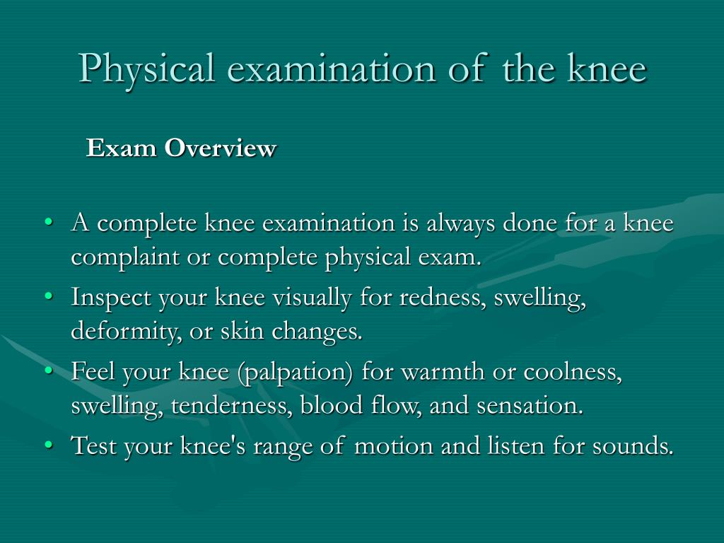 Physical examination of the knee