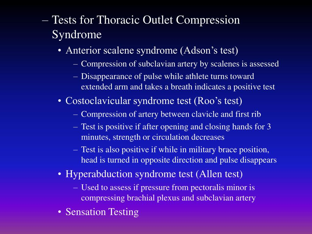 Tests for Thoracic Outlet Compression Syndrome