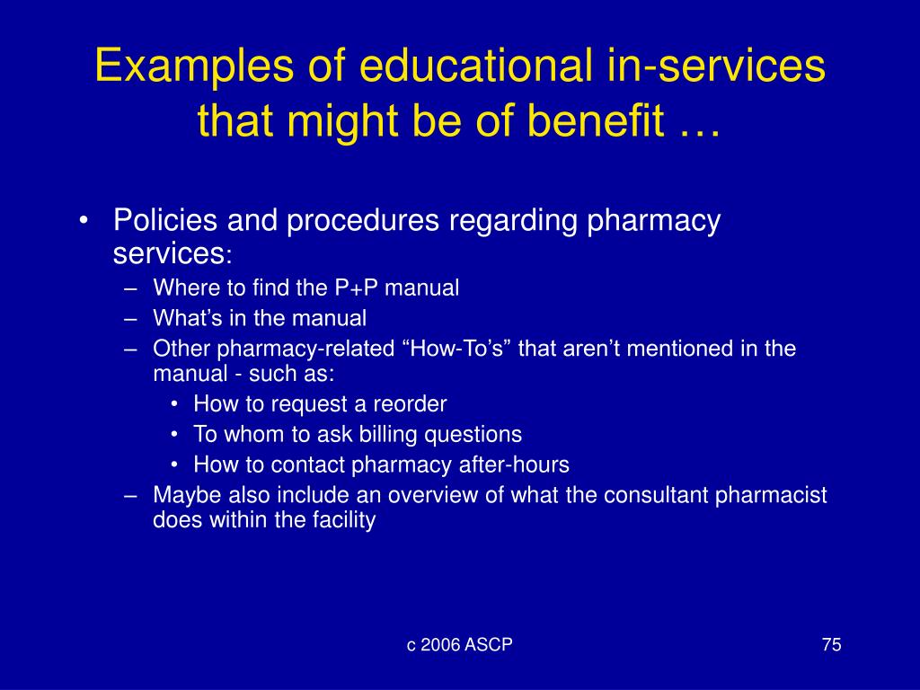 Examples of educational in-services