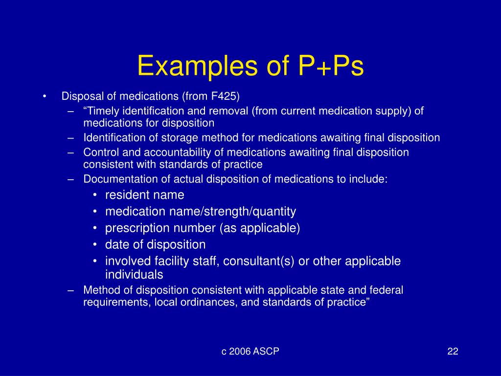 Examples of P+Ps