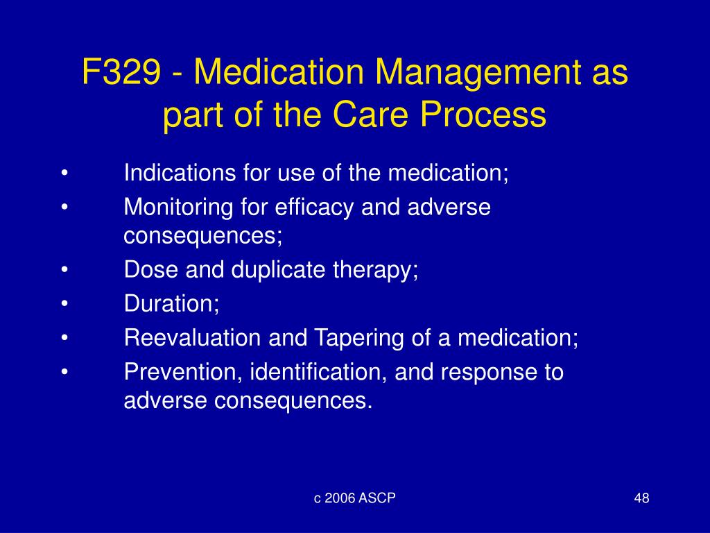 F329 - Medication Management as part of the Care Process