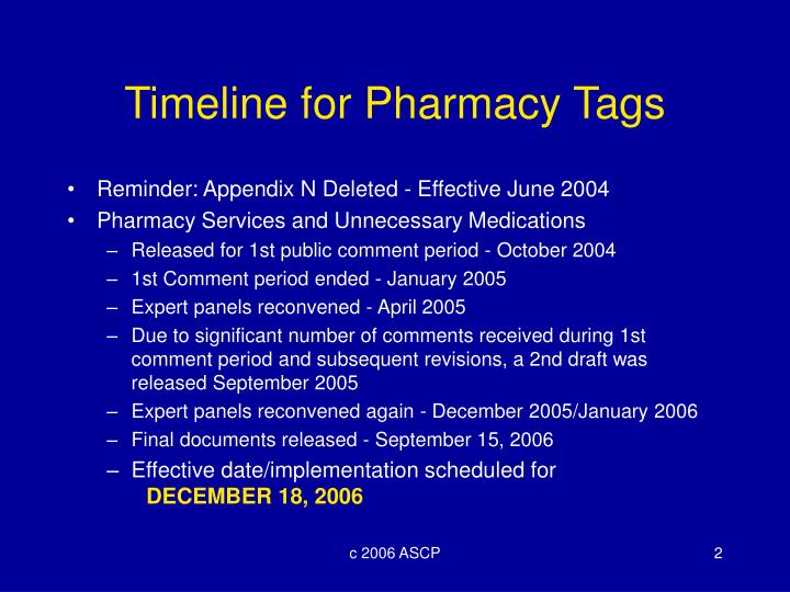 Timeline for pharmacy tags