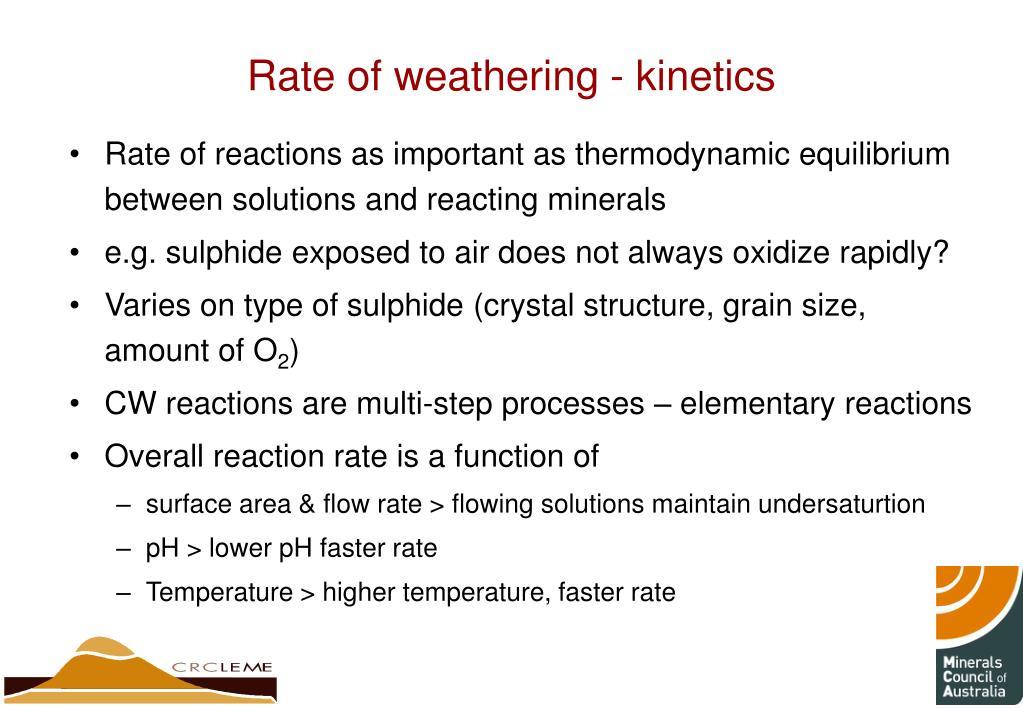 Rate of weathering - kinetics