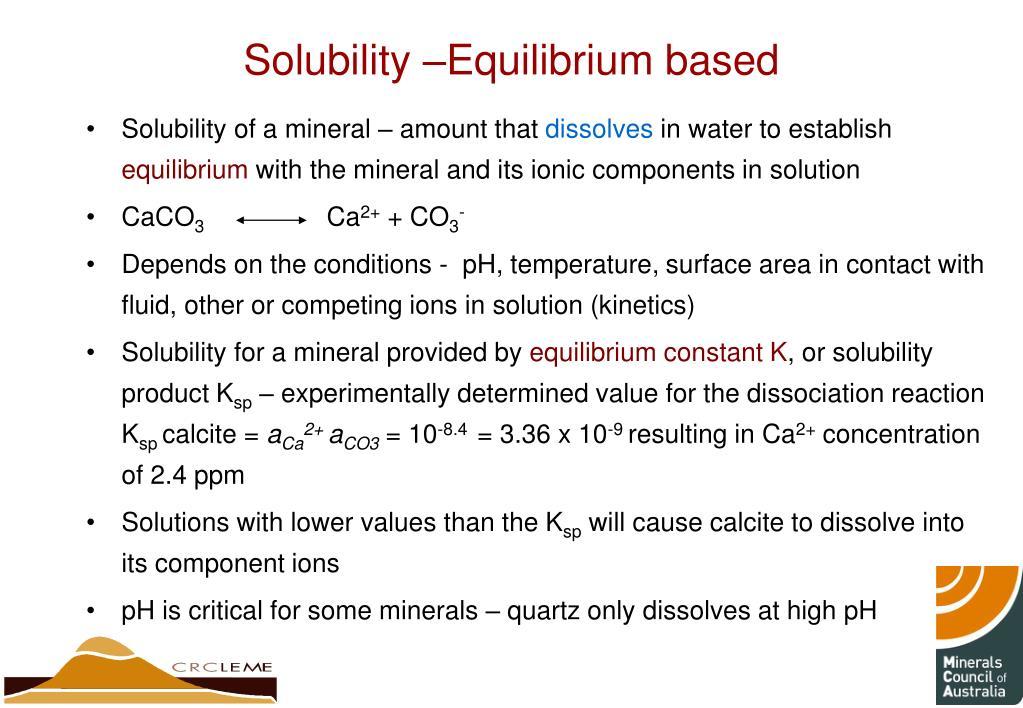 Solubility –Equilibrium based