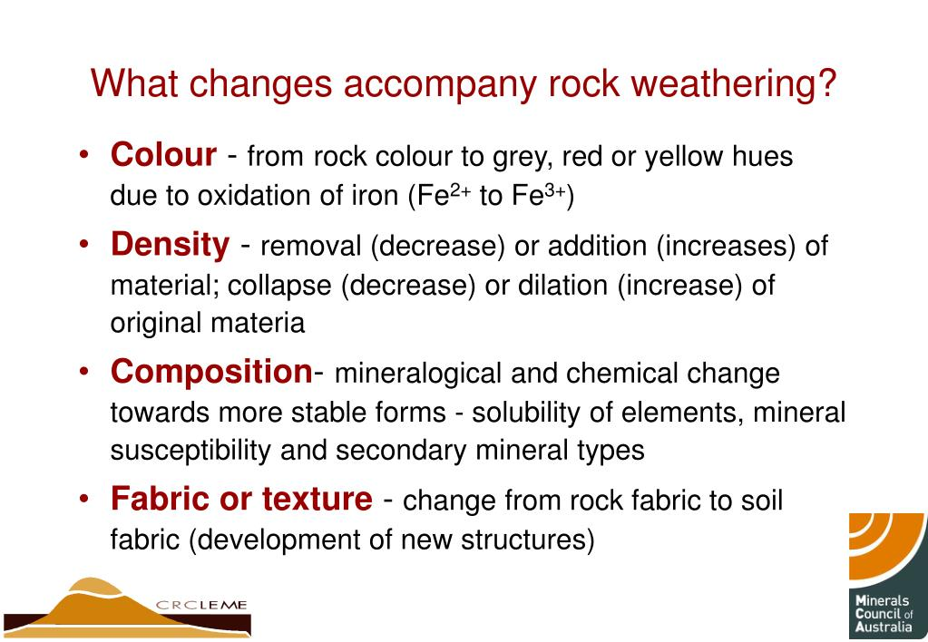 What changes accompany rock weathering?