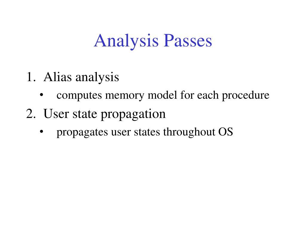 Analysis Passes