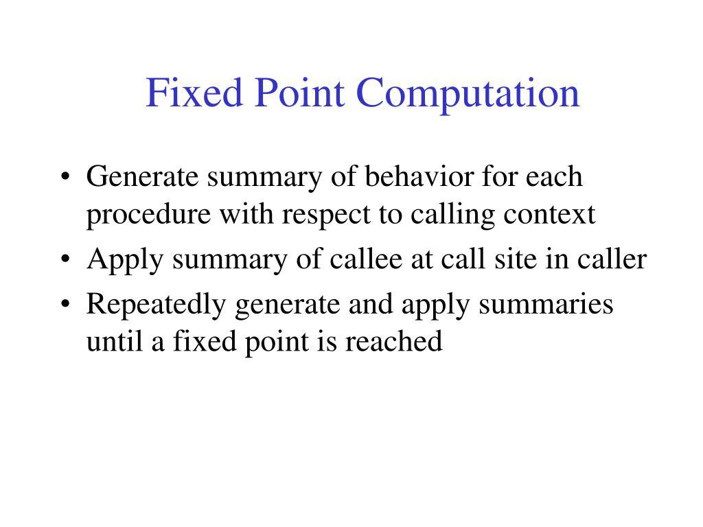 Fixed Point Computation