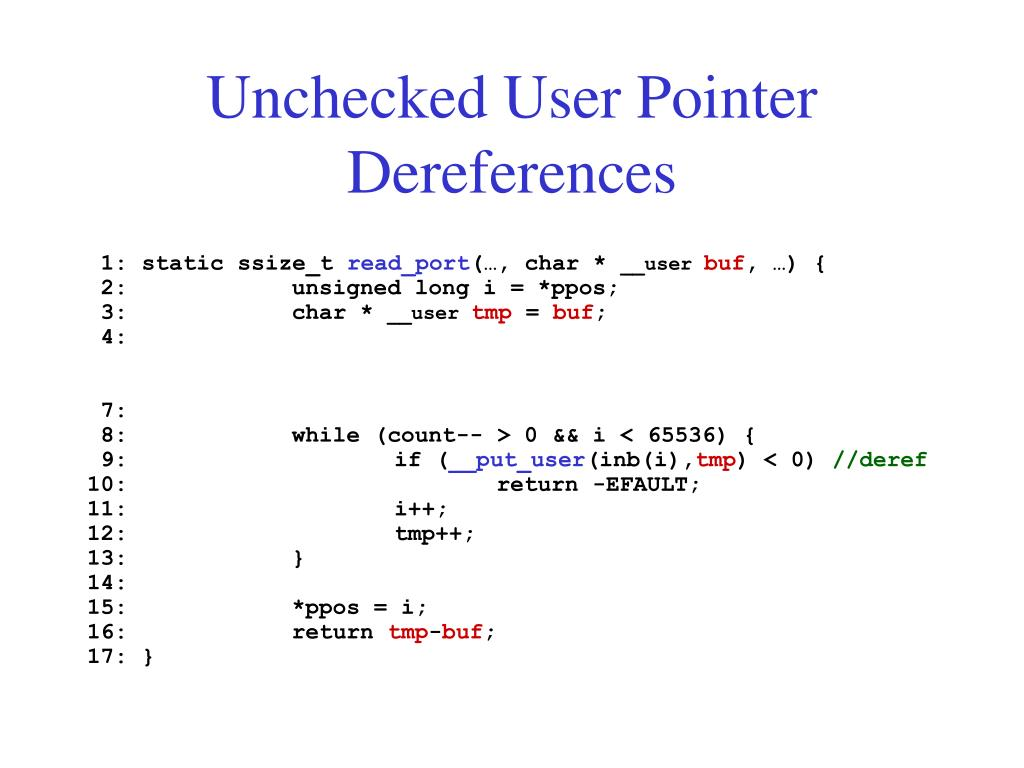 Unchecked User Pointer