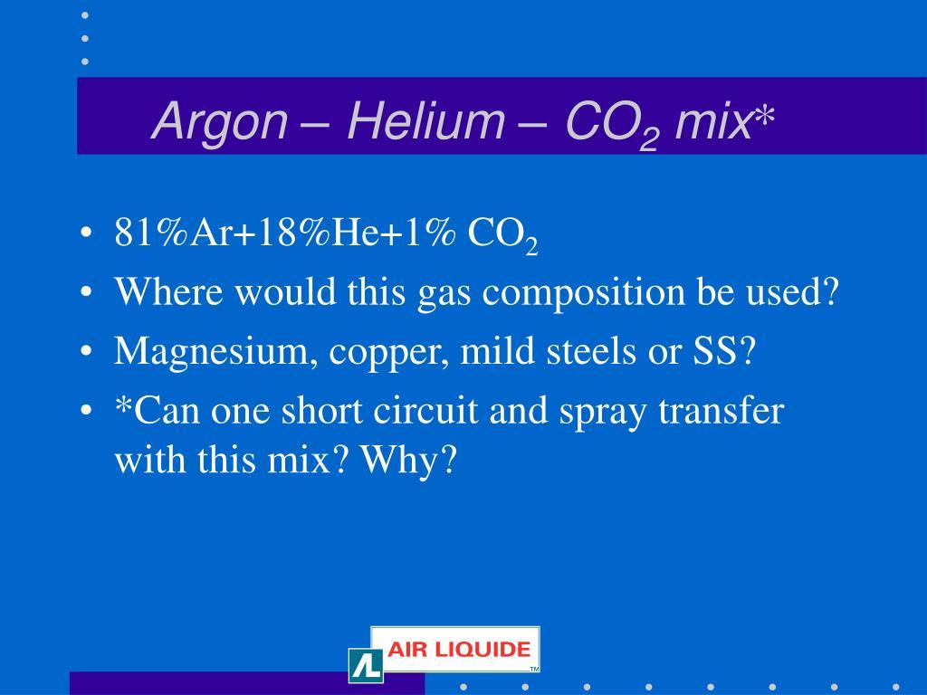 Argon – Helium – CO