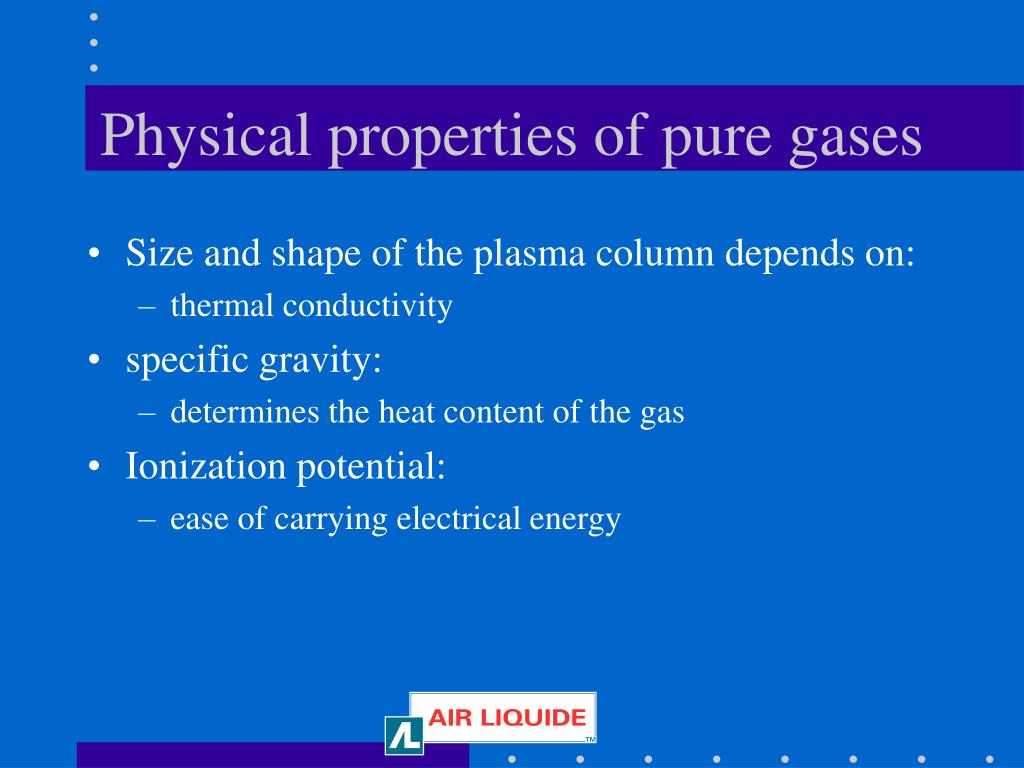 Physical properties of pure gases