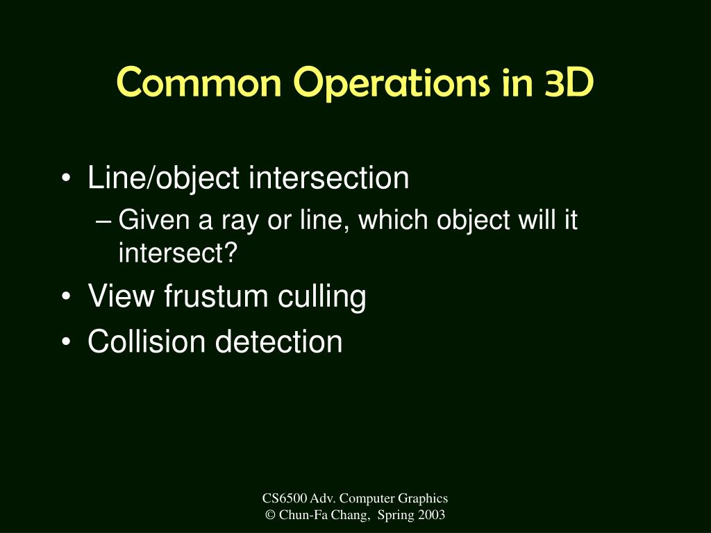 Common Operations in 3D
