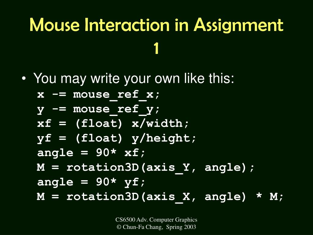 Mouse Interaction in Assignment 1