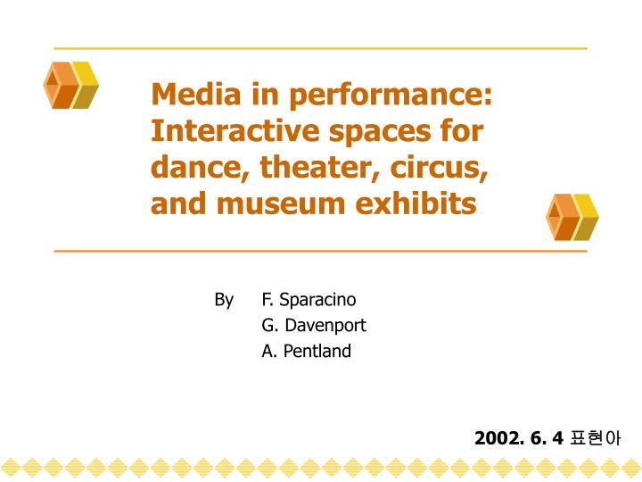 Media in performance interactive spaces for dance theater circus and museum exhibits