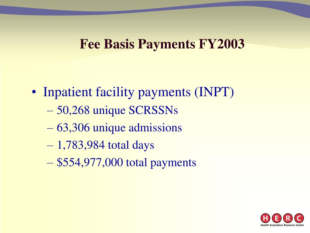 Fee Basis Payments FY2003