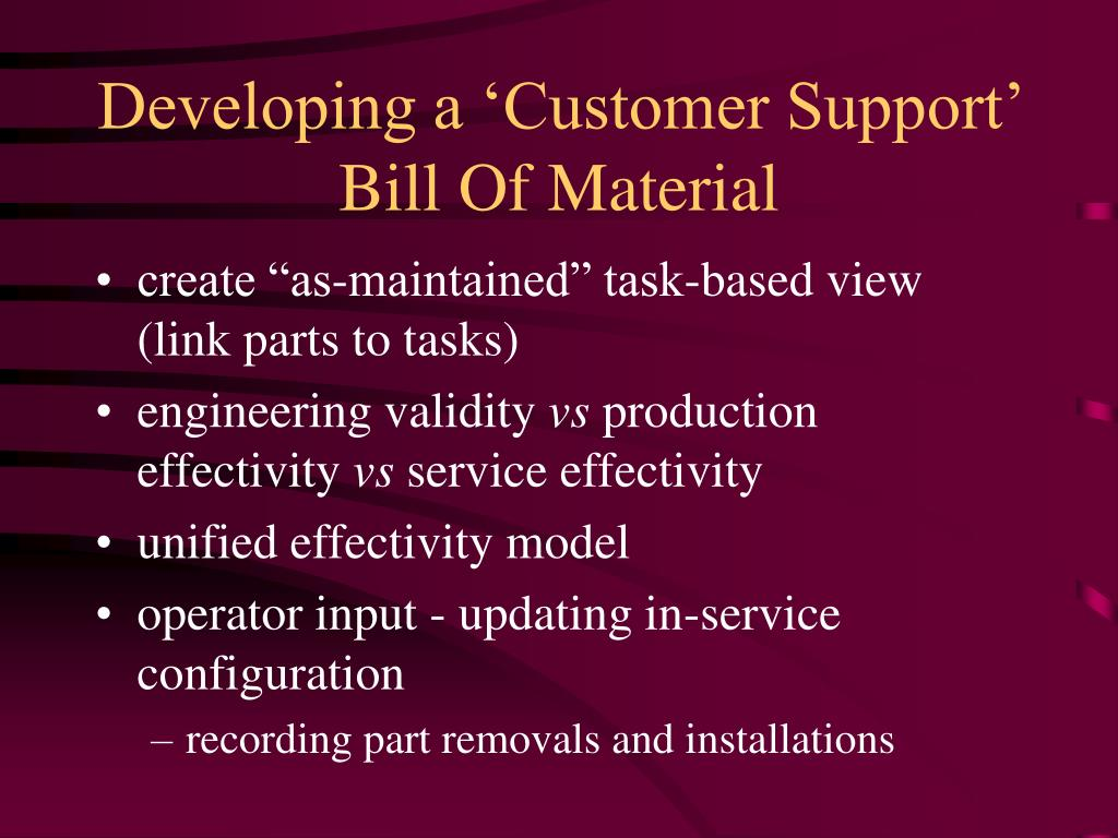 Developing a 'Customer Support' Bill Of Material