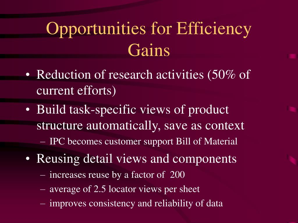 Opportunities for Efficiency Gains