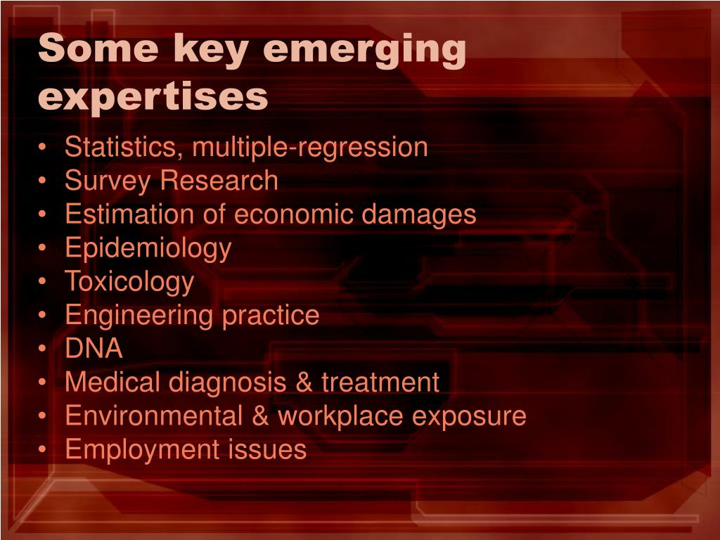 Some key emerging expertises