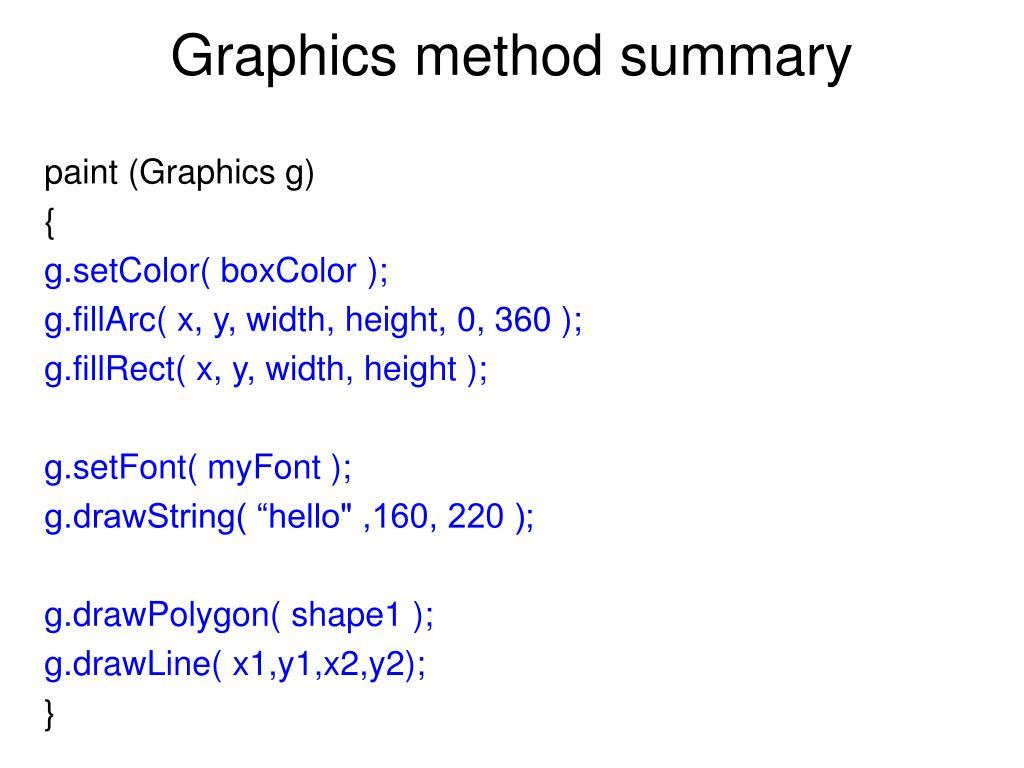Graphics method summary