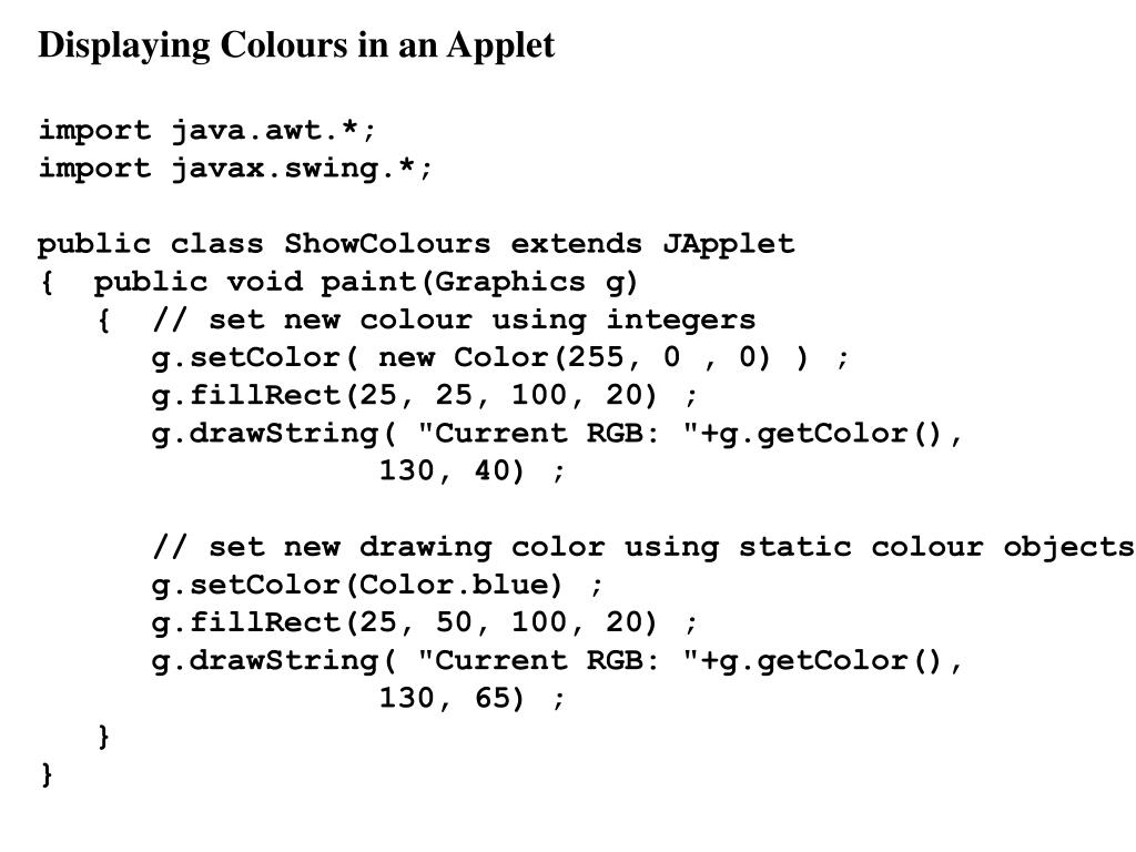 Displaying Colours in an Applet