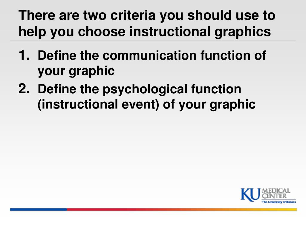 There are two criteria you should use to help you choose instructional graphics