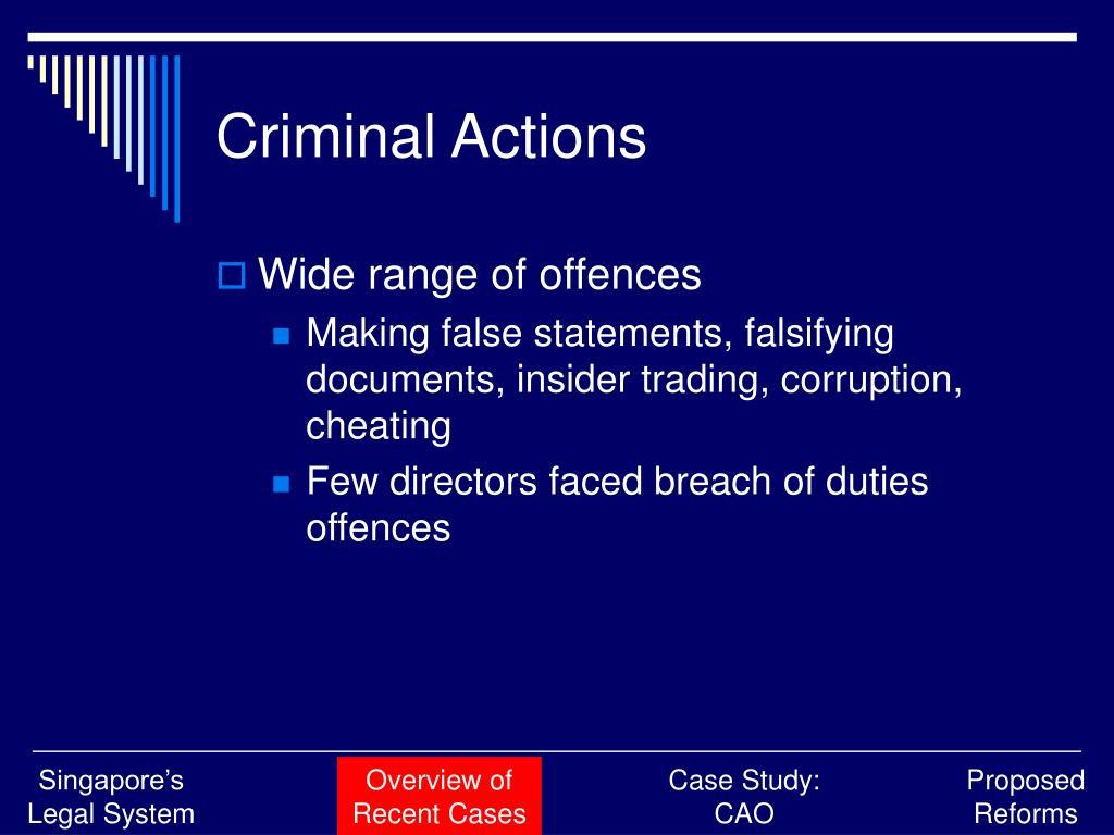 Criminal Actions