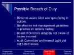possible breach of duty