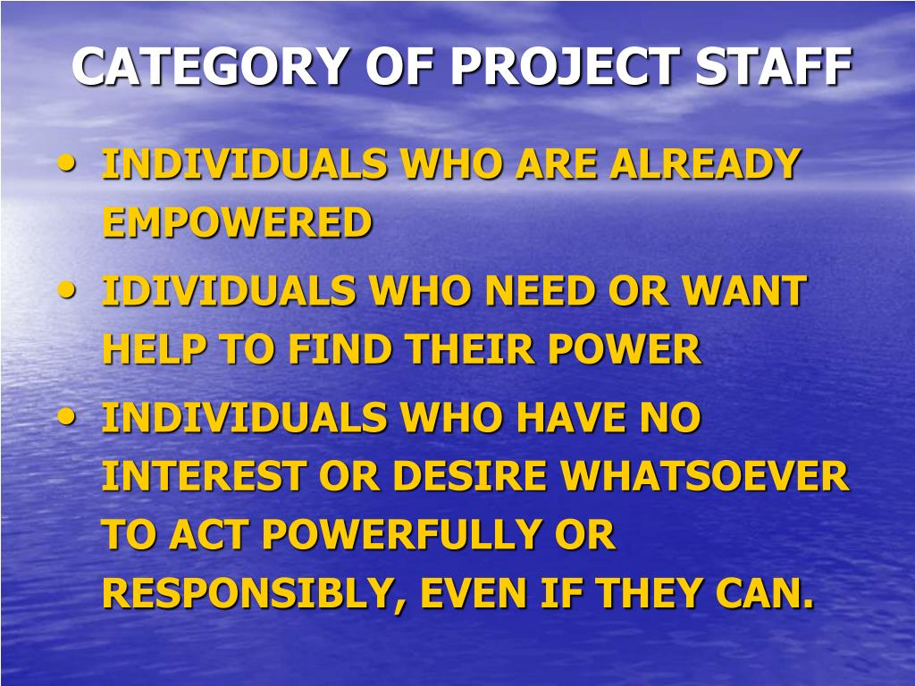 CATEGORY OF PROJECT STAFF