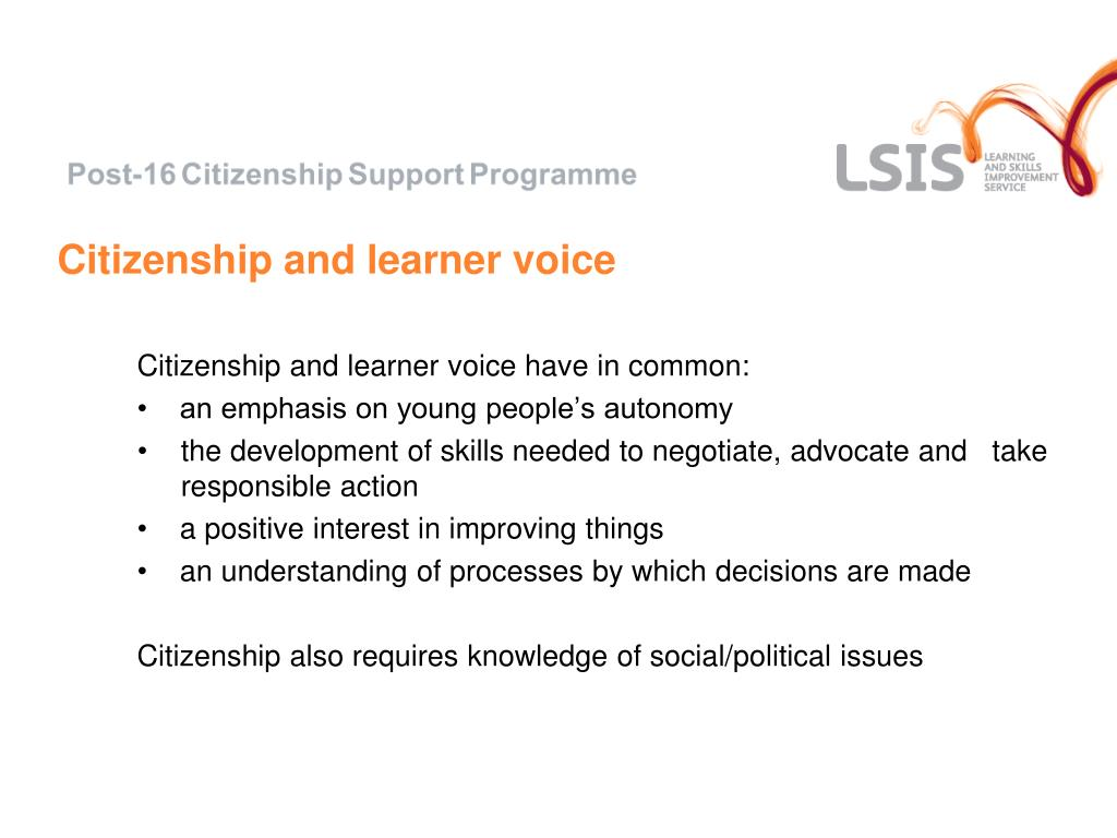 Citizenship and learner voice