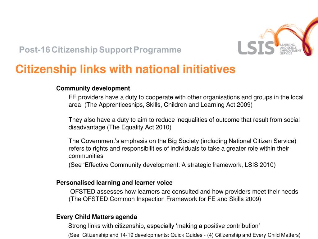 Citizenship links with national initiatives