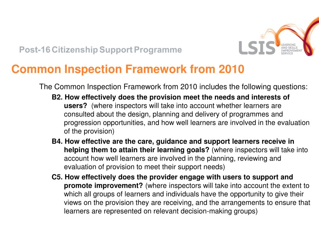 Common Inspection Framework from 2010