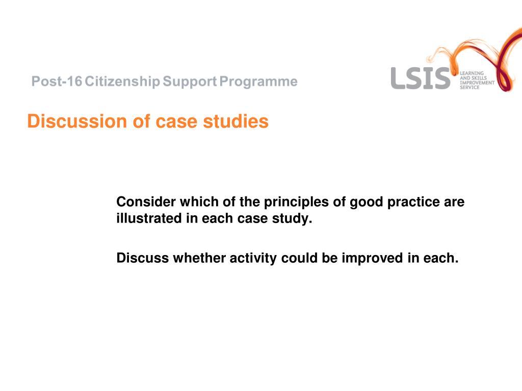 Discussion of case studies