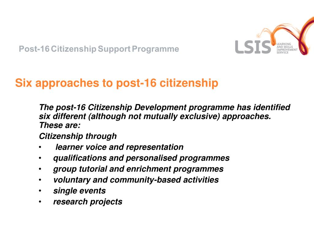 Six approaches to post-16 citizenship