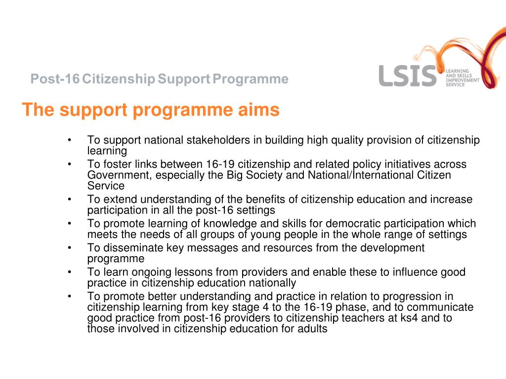 The support programme aims