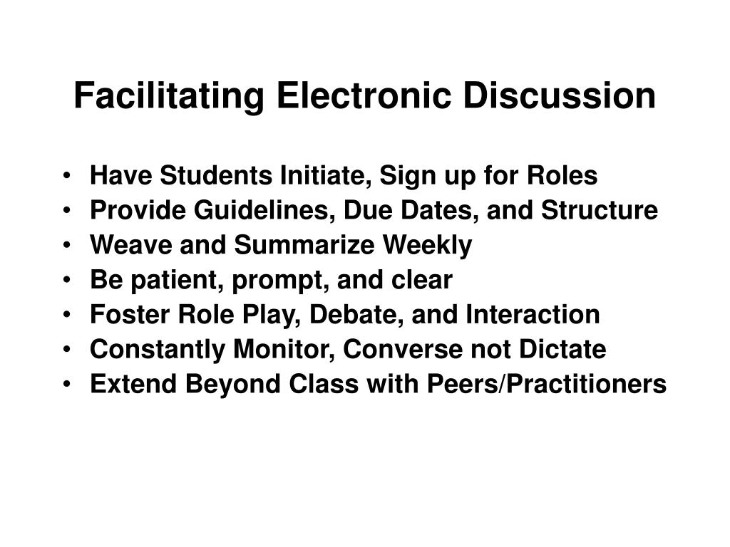 Facilitating Electronic Discussion