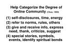 help categorize the degree of online community chao 1999