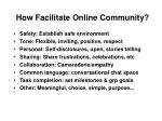 how facilitate online community