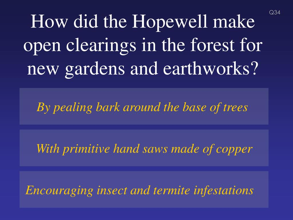 How did the Hopewell make open clearings in the forest for new gardens and earthworks?