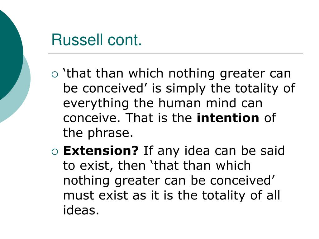 Russell cont.