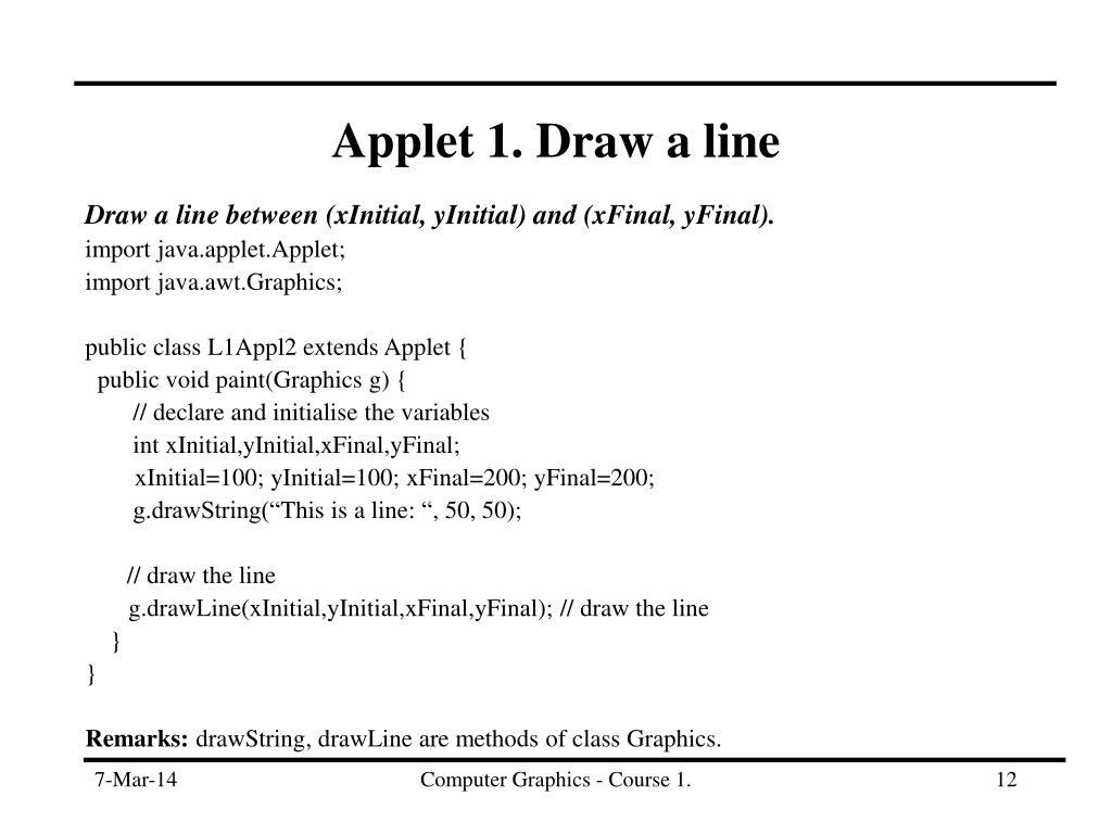 Applet 1. Draw a line