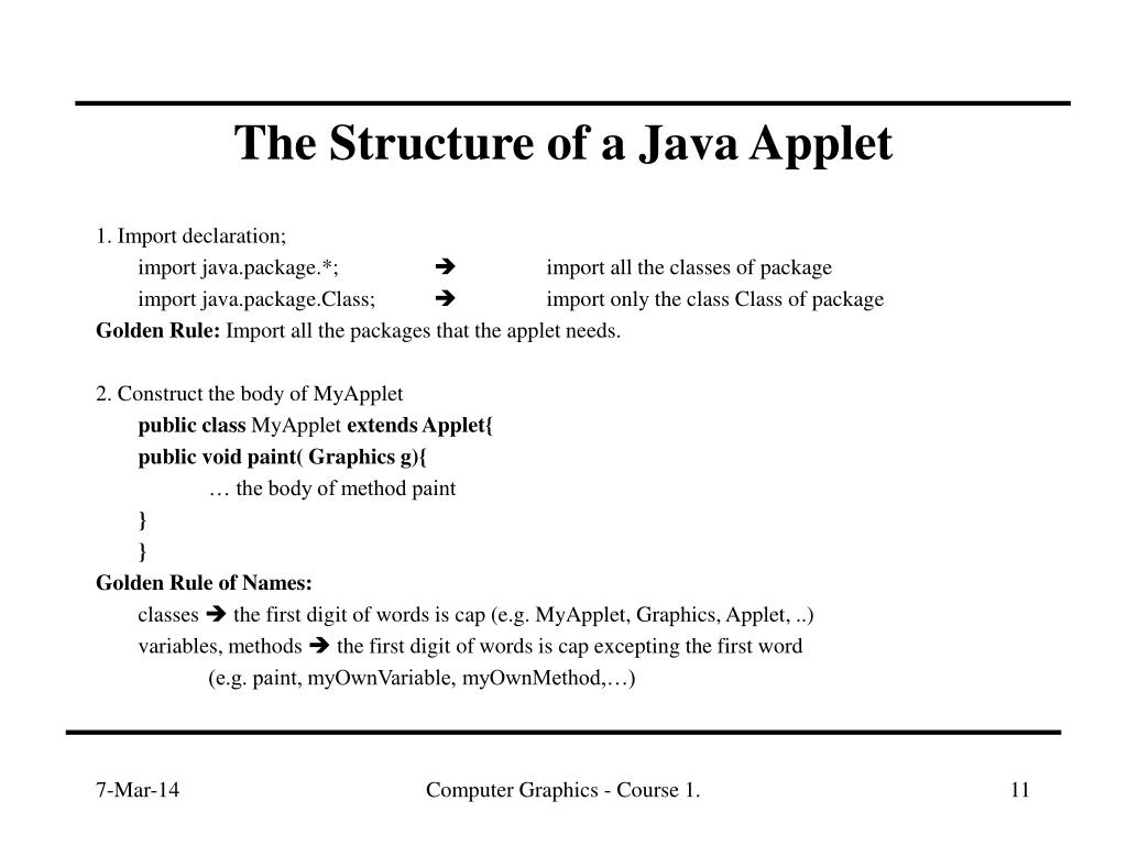 The Structure of a Java Applet