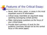 features of the critical essay