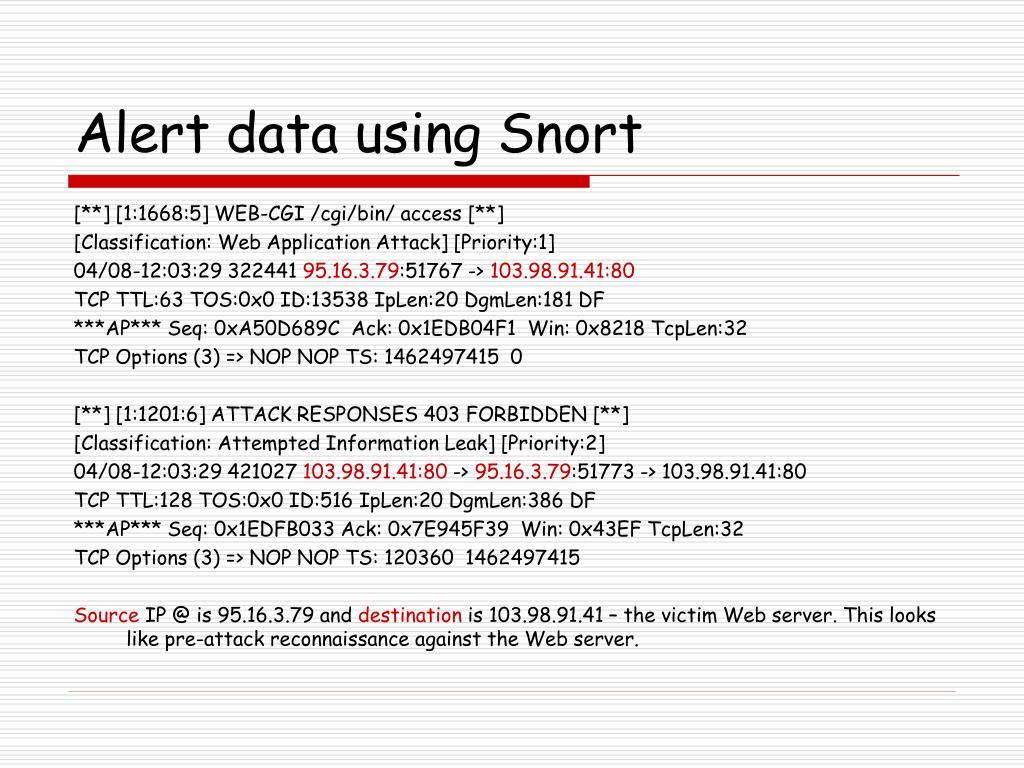 Alert data using Snort
