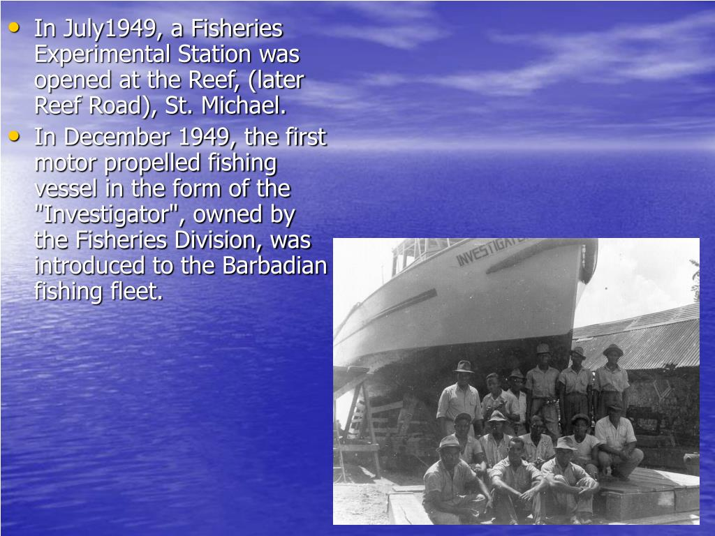 In July1949, a Fisheries Experimental Station was opened at the Reef, (later Reef Road), St. Michael.