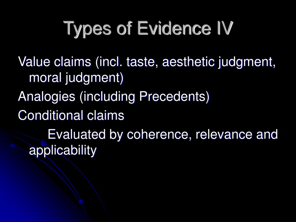 Types of Evidence IV