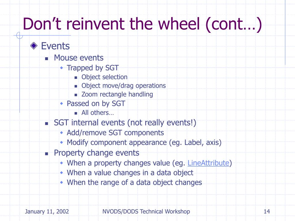 Don't reinvent the wheel (cont…)