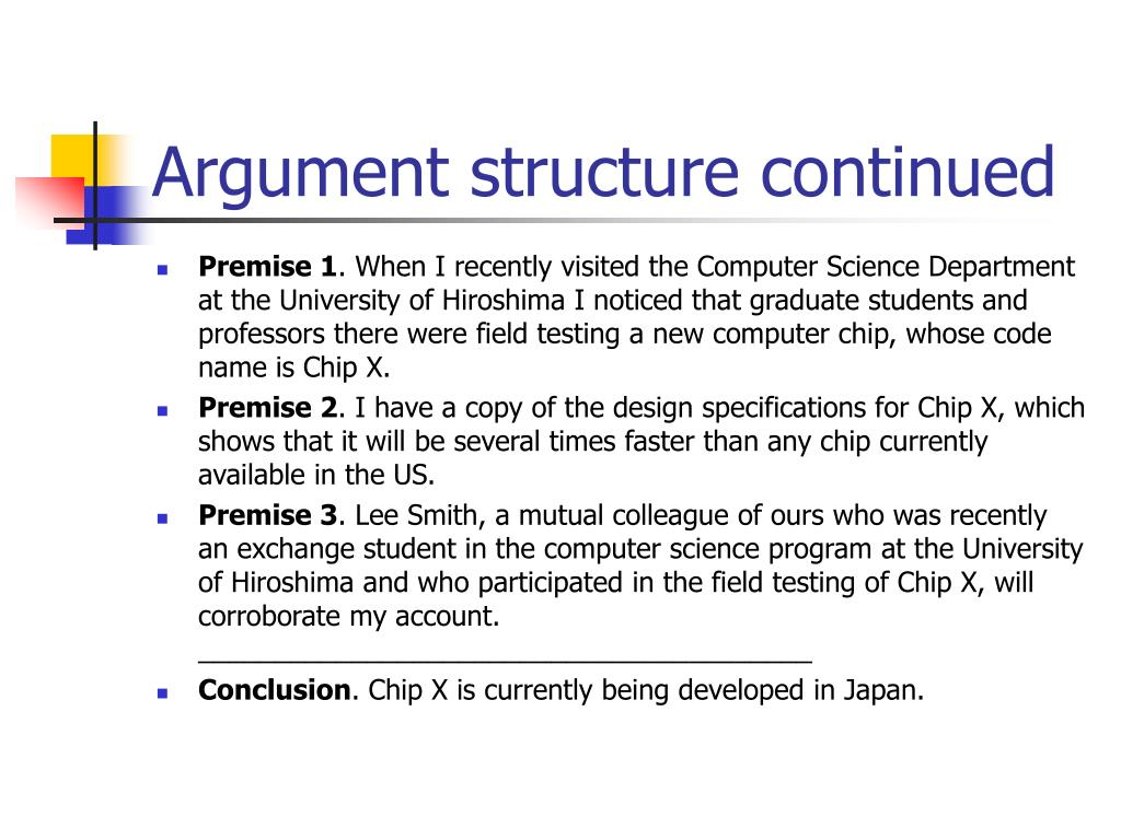 Argument structure continued