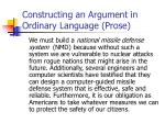 constructing an argument in ordinary language prose